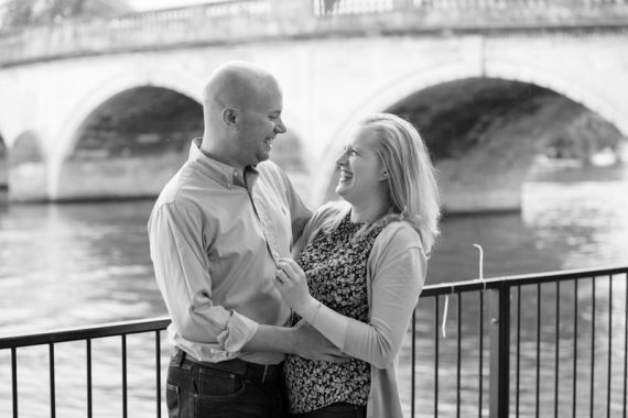Couple in front of Henley bridge on their pre wedding shoot