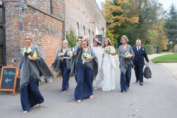 Bride with her bridesmaids at Wasing Park