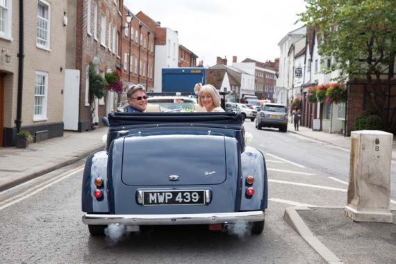 Vintage car wedding in Henley on Thames Oxfordshire