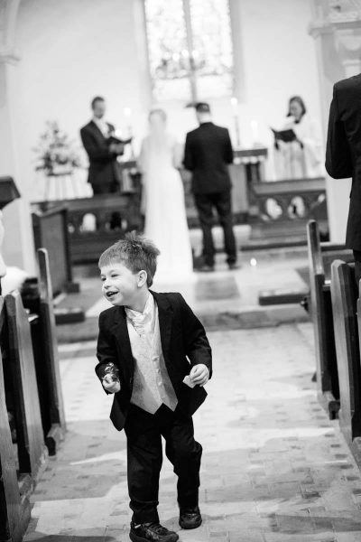 Fun in the church documentary style wedding photography