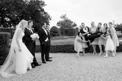 Bridesmaids in the garden at Danesfield House Buckinghamshire