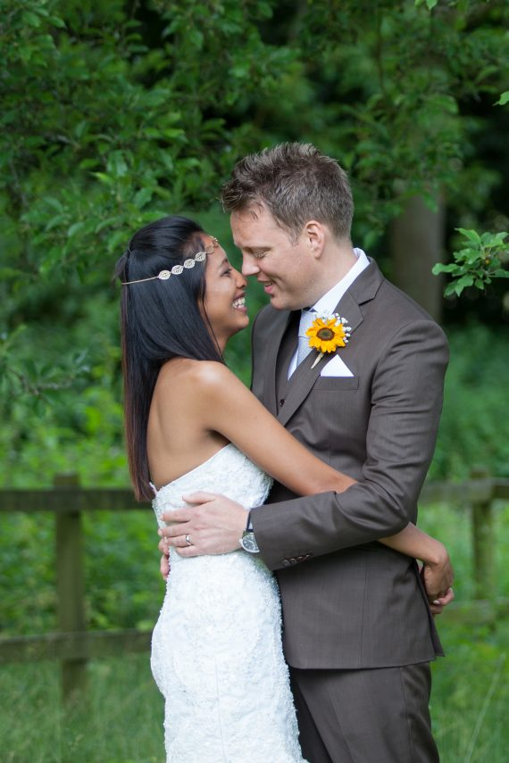 happy bride and groom at Crown Inn Pishill