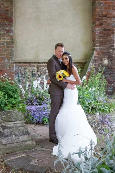 Bride and groom at Crown Inn Pishill Oxfordshire