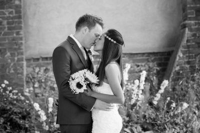 Wedding Photo of Couple kissing at Crown Inn Pishill Oxfordshire