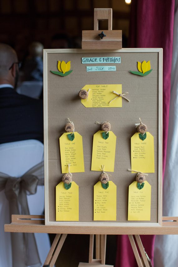 Table plan at a barn wedding at the Crown Inn Pishill Oxfordshire