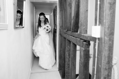 Bride leaving for her wedding at the Crown Inn Pishill Oxfordshire