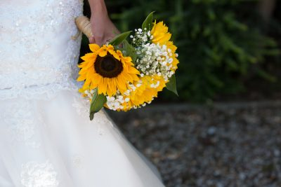 Sunflowers at a wedding