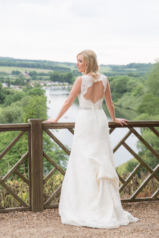 Bride looks out over the countryside at Danesfield House Buckinghamshire