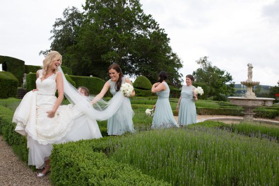 Bridesmaids with bride at Danesfield House