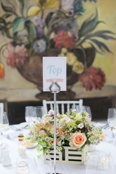 Table details at Merriscourt Barn Wedding in Cotswolds