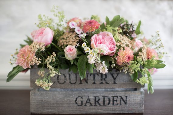 Beautiful rustic wedding flowers at Merriscourt