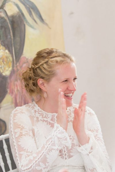 Laughing Bride at her Merriscourt Barn Wedding