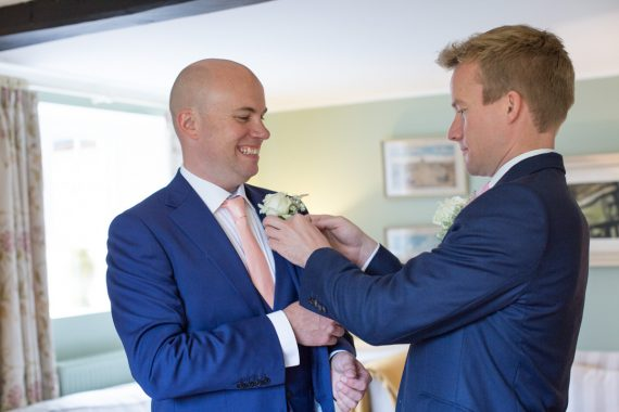 Groom getting ready at Merriscourt Wedding in Cotswolds