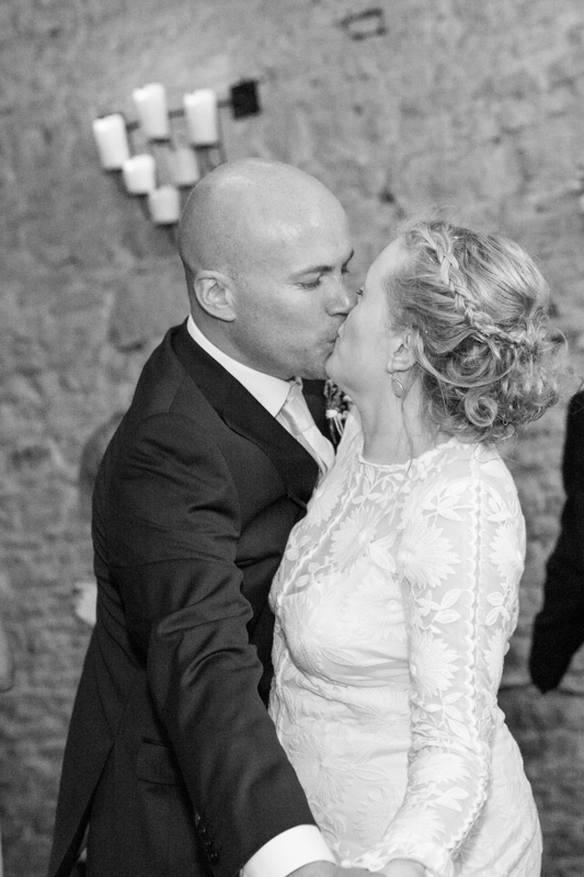 Bride and Groom kissing at their first dance at Merriscourt Wedding