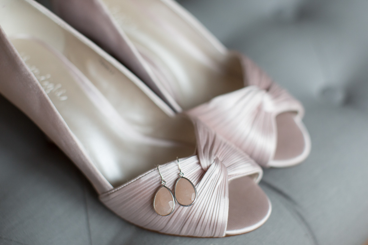 Bride's shoes at Merriscourt Barn wedding in Cotswolds
