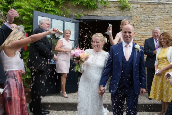 Confetti shot at Merriscourt Barn in Cotswolds