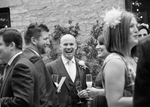 Happy Groom at his Merriscourt Wedding in Cotswolds