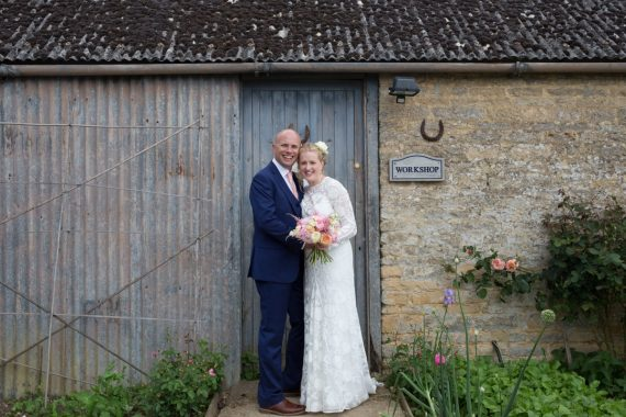 Bride and Groom wedding portrait at Merriscourt Barn in Cotswolds