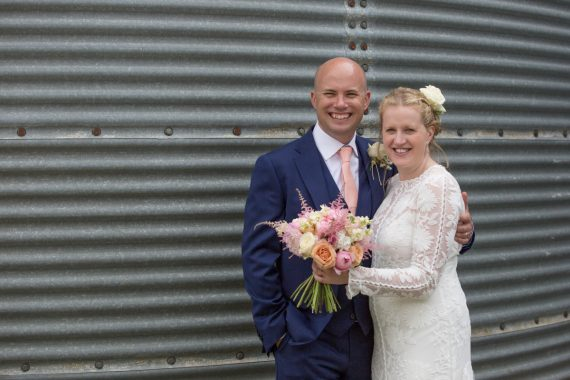 Happy Bride and Groom at Merriscourt Barn in Cotswolds