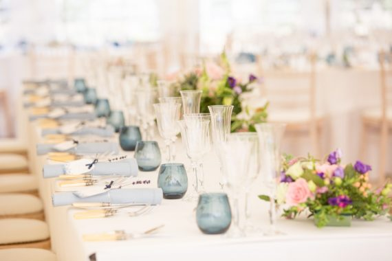 table setting at a marquee wedding in henley Oxfordshire