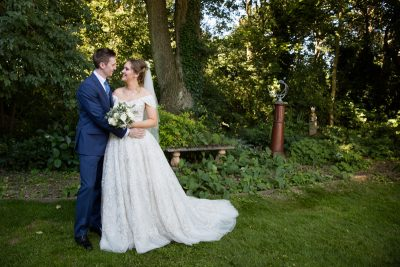 Romantic bride and groom photograph in woods at marquee wedding in Henley Oxfordshire