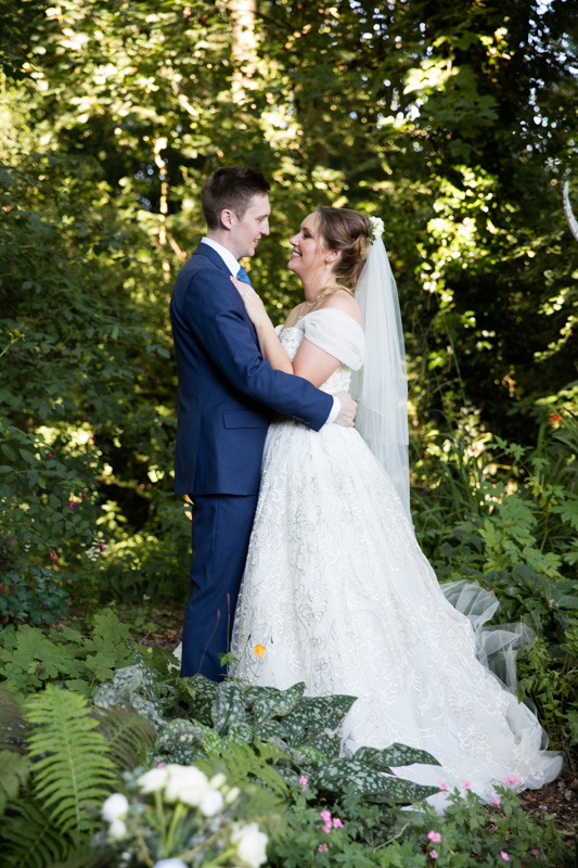 Romantic bridal portrait photograph at marquee wedding in Henley Oxfordshire