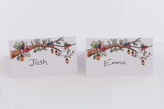 Creative name tags at wedding in Henley Oxfordshire