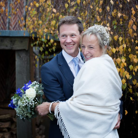 Couple at their winter wedding at Bix Manor Henley
