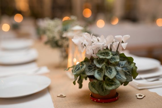 Table details at Henley wedding
