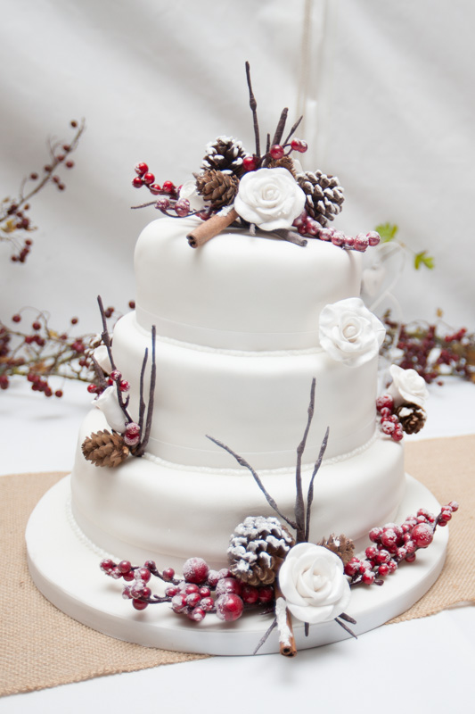 Winter theme wedding cake at Henley wedding