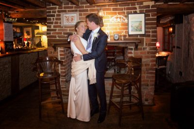 Happy Couple at their winter wedding in oxfordshire