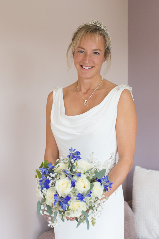 Bride at home before her wedding in Henley