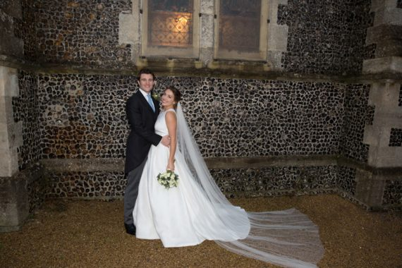 Bride and Groom outside Bix Church, Henley