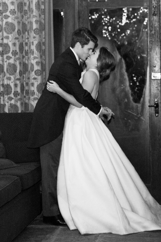 Bride and Groom kissing at their Henley Wedding