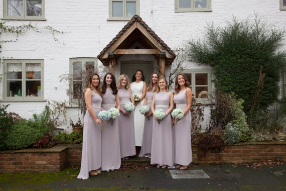 Bride with her Bridesmaids at Bix Manor wedding