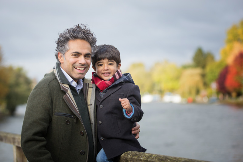 Father and son at Marsh Lock Henley on Thames