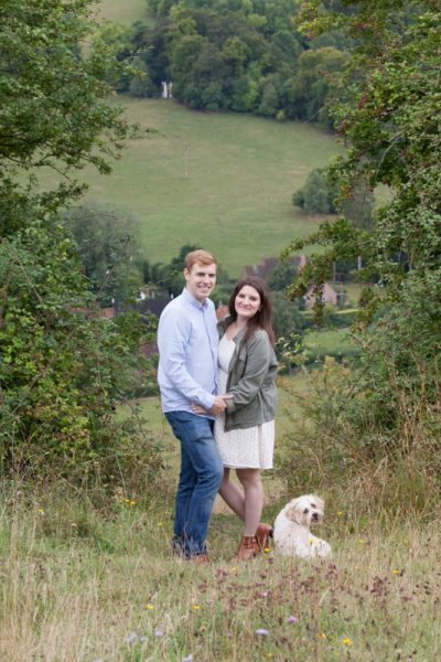 Couple in countryside on pre wedding shoot near Turville