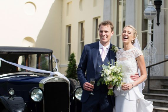 Bride and Groom outside their Stoke Park wedding