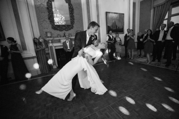 Couple doing their first dance at Stoke Park Wedding