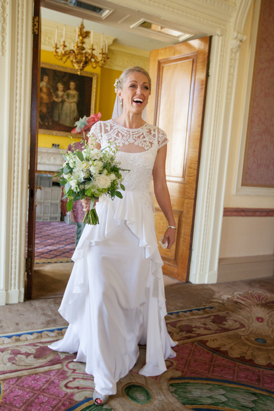 Beautiful bride in her Temperley dress at Stoke Park wedding