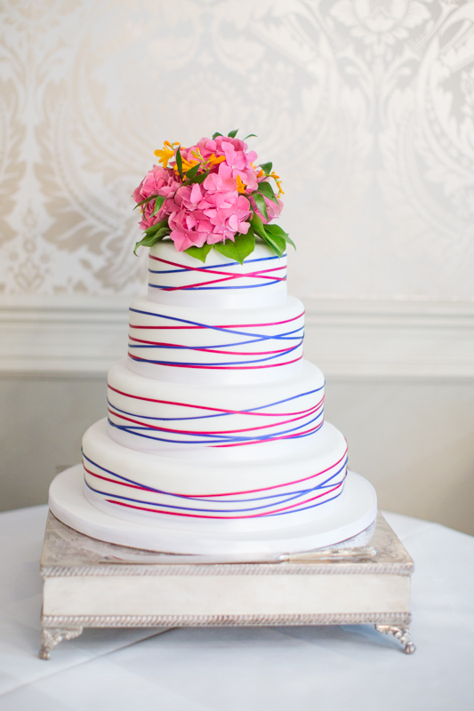 Colourful wedding cake at the Elephant Hotel