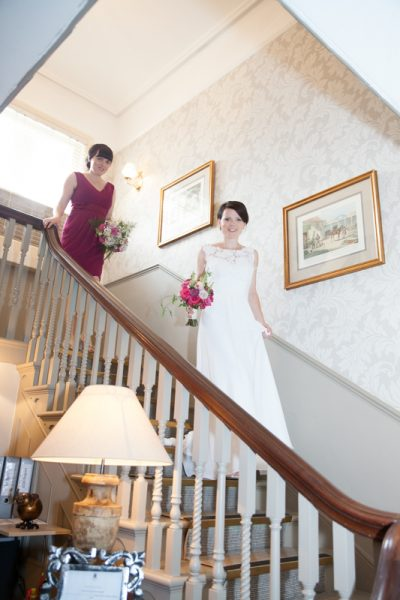 Bride making an entrance at Elephant Hotel Pangbourne