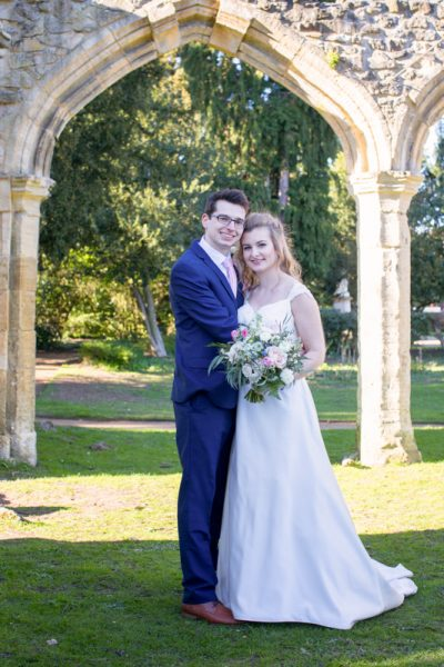 Bride and Groom in Abbey Gardens Abingdon