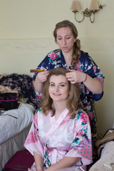Bride getting ready for Crown and Thistle Wedding