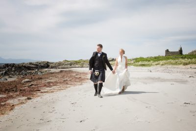 Bride and Groom on beach at Crear