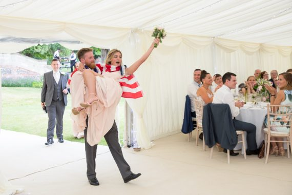 Special entrance of bridal party at shiplake college wedding