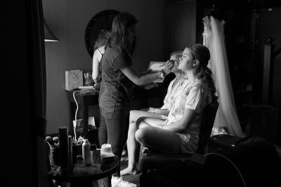 Bridesmaids getting their make up done at Malmaison Hotel in Reading