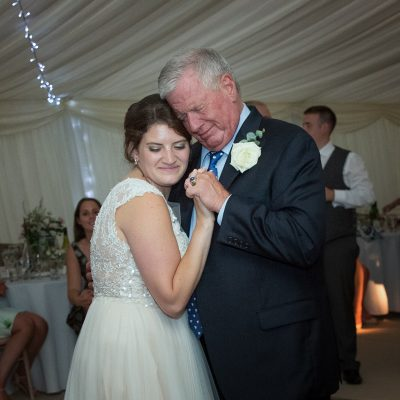 Bride with her Dad at her wedding in Shiplake College