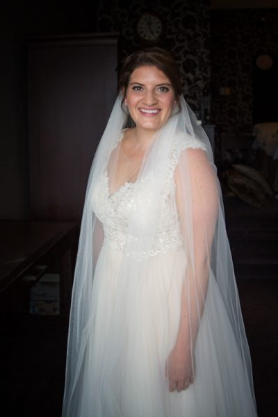 Bride in her Watters Wedding gown at Malmaison Hotel in Reading