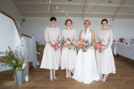 Bridal party at Crear with beautiful rustic flowers